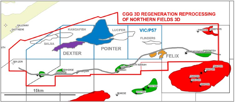 Local area surrounding VIC/P57 showing the extent of the CGG 3D Gippsland Regeneration Reprocessing and local oil and gas discoveries.