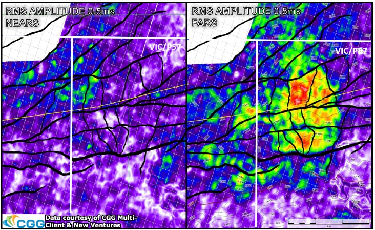 Pointer Class III AVO anomaly showing significant brightening on the far stack, interpreted to be due to hydrocarbons.