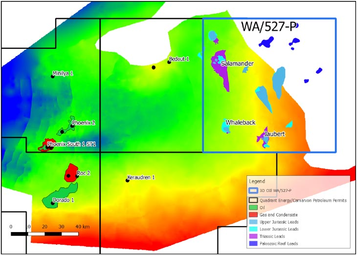WA-527-P location map with current leads relative to existing discoveries. TWT map shows the Early Triassic basin configuration.